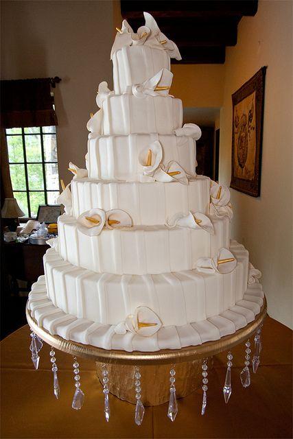 LOVE! six tier wedding cake with calla lilies