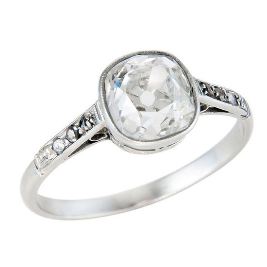1stdibs - Antique Cushion Cut Diamond  Engagement Ring explore items from 1,700  global dealers at 1stdibs.com