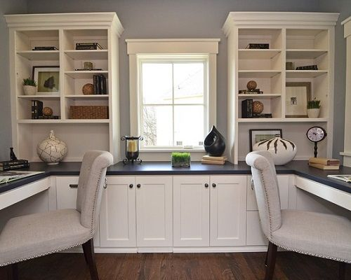 Contemporary White Cabinetry Home Office Painted Ideas