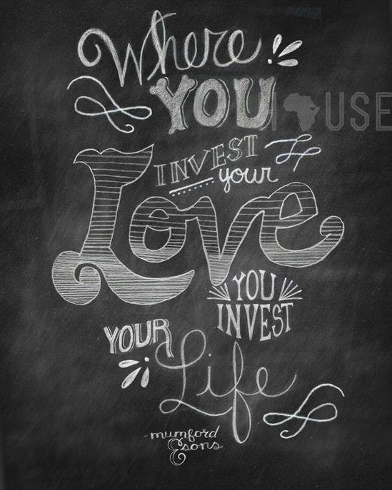 chalkboard art print - Invest Love 8x10 via Etsy