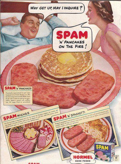 Eatin' SPAM 'n' pancakes. What a lovely morning!