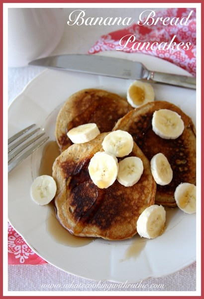 Banana Bread Pancakes are a quick and easy weekend brunch! by whatscookingwithr... #recipes #breakfast