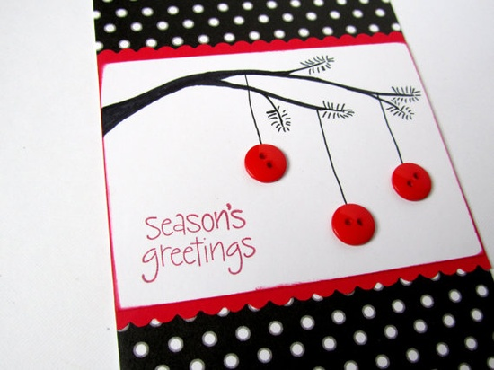 Christmas Card  Holiday Card  Handmade  Button