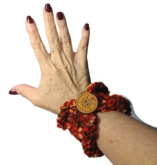 Hand Knit Cuff/Bracelet Brown Gold Orange Red by ArlenesBoutique, $12.95