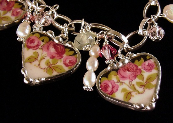 Broken China Jewelry Heart Charm Bracelet Nouveau Roses with Pearls and Gemstones