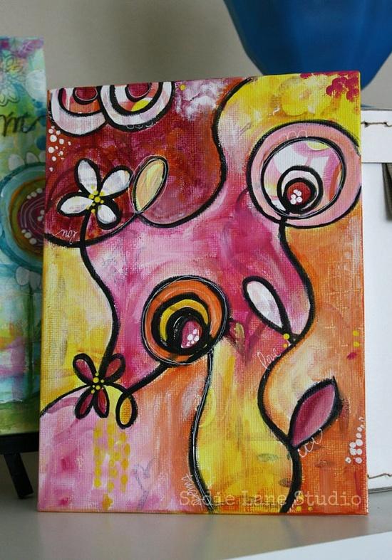 "ORGINAL Mixed Media Abstract Canvas - 6"" x 8"" Colorful Days - whimsical canvas."