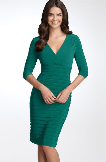 A curve-hugging pleated dress from Adrianna Papell in #emerald #coloroftheyear