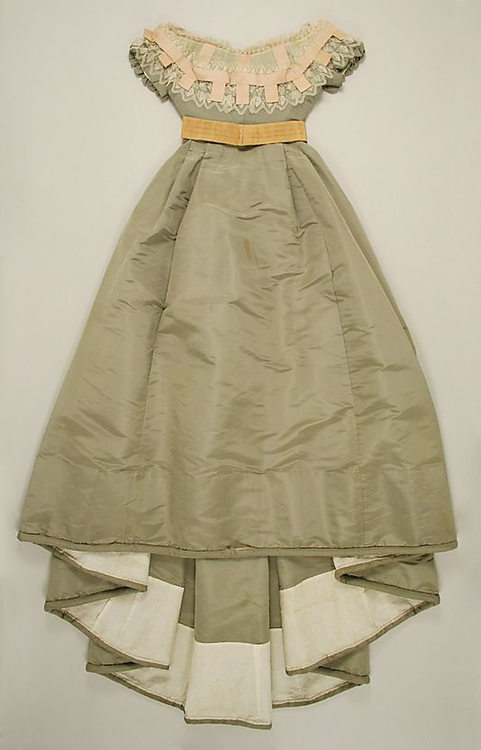 "Ensemble (Skirt and Evening Bodice): 1865-1867, French, silk, cotton.    Marking: [label] (a, b) ""Alexandrine Goujon/Rue St. Honore, 233"""
