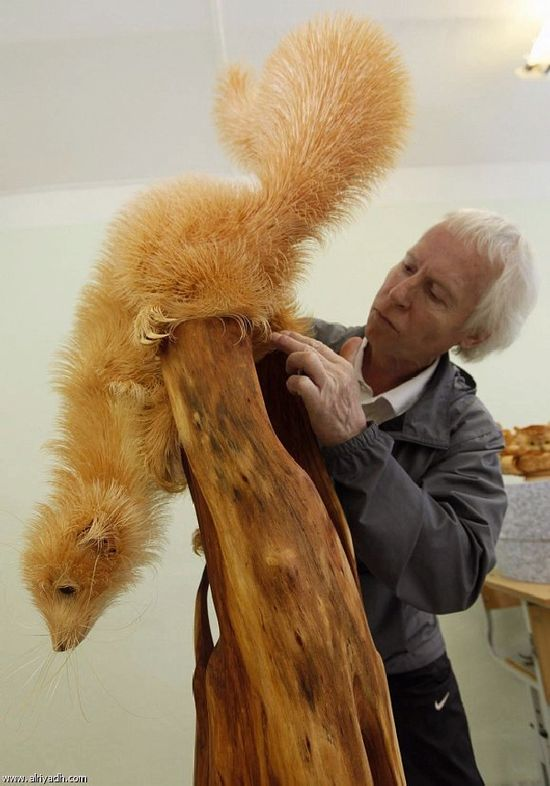 53-year-old Sergei Bobkov has patented a unique technique of creating amazing sculptures out of Siberian cedar wood-chips.