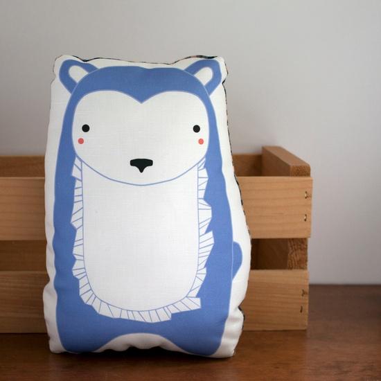 Plush Bear Pillow in Periwinkle Blue Gingiber