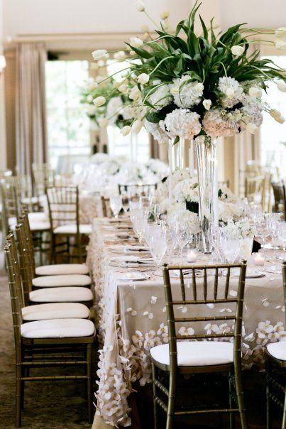 the linen!!!!  tulips & hydrangea wedding reception