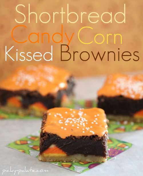 Seriously fantastic Shortbread Candy Corn Kissed Brownies. #brownies #shortbread #bars #candy #candy_corn #orange #Halloween #food #fall #autumn #baking #dessert #cooking