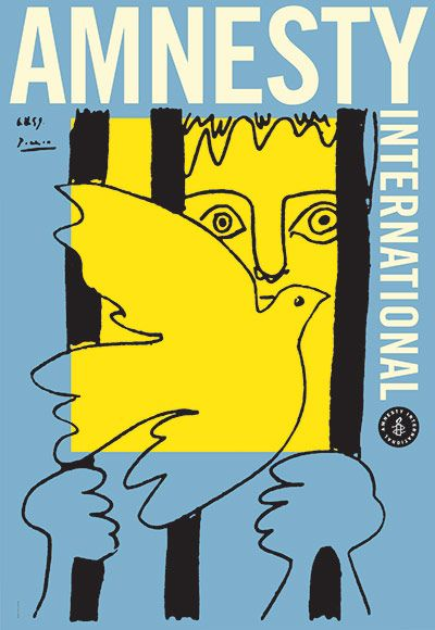 50 years of Amnesty International posters  (above La Colombe et le Prisonnier c. 1959 with art donated by Pablo Picasso)