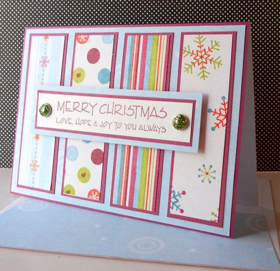 Handmade Christmas Card ideal to make with scraps