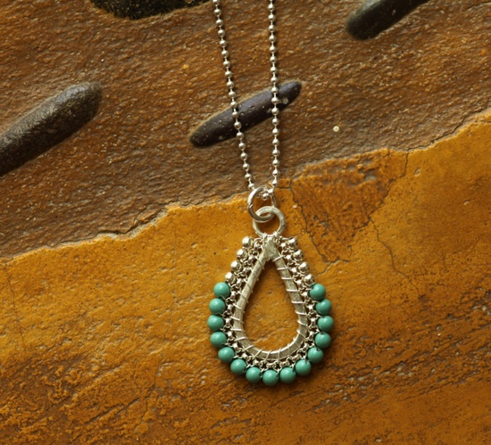 Teardrop pendant  #handmade #jewelry #bead #beading #wire_wrapping