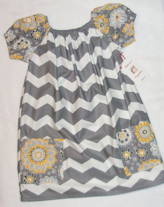 Girls Chevron stripe peasant Dress Flowers by RebeccasOriginals, 26