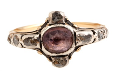 Circa 1810 sterling silver and 18k gold amethyst ring with diamonds. English in origin.