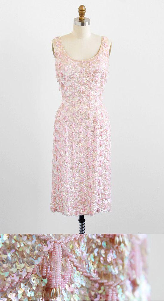 vintage 1950s pink sequins + beaded tassels wiggle dress.