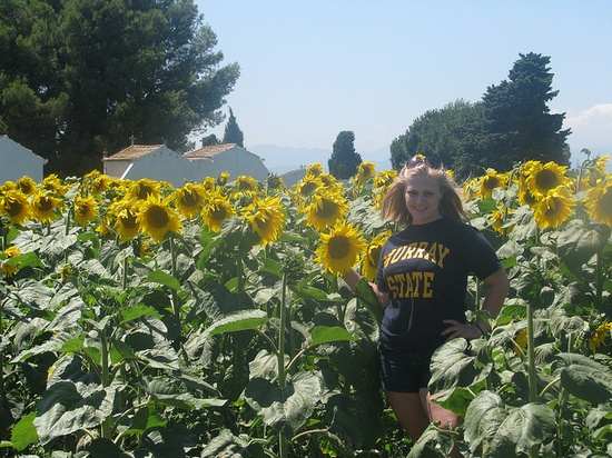 Sarah in a sunflower field in Catalonia Spain