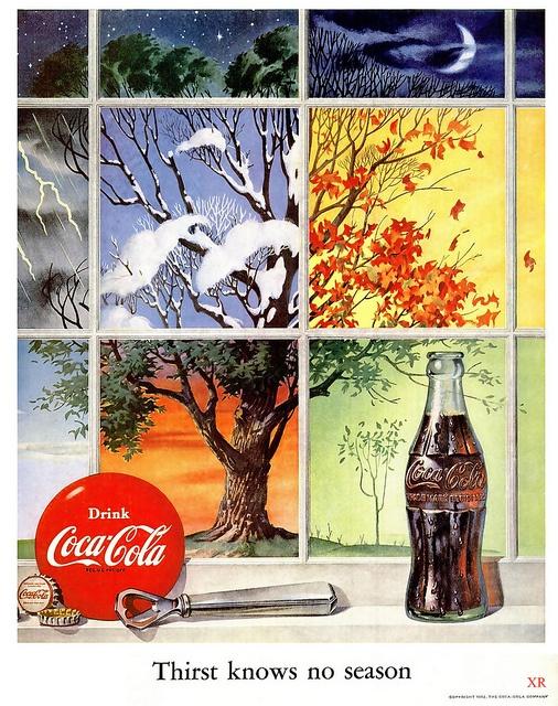 Thirst knows no season. #vintage #1950s #Coca_Cola #food #ads