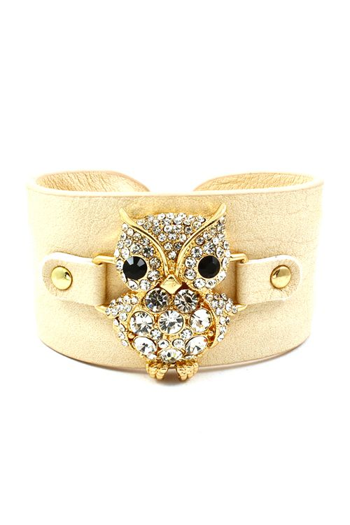 Gorgeous Owl covered in Crystals, with his Jet Eyes, Golden toes and Beek, chic against Leather #jewelry #owl #fashion #owl #beauty #owl #bracelet