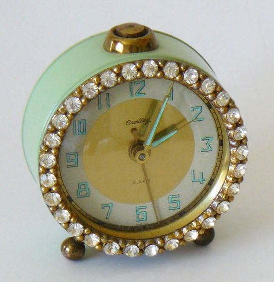Vintage Jadeite Green Bradley Rhinestone Alarm Clock.  This would look very luxe on a bedside table.