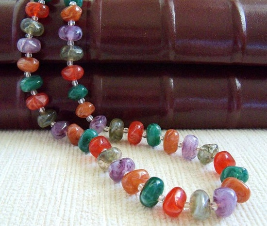 Multicolored Beaded Necklace by SunshineSurprises on Etsy