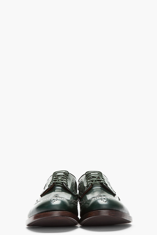 DSQUARED2 //  DARK GREEN LEATHER LONGWING BROGUES.