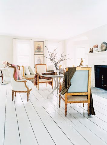 Painted wide plank floors will never go out of style. #paintedwoodfloors #wood #paint