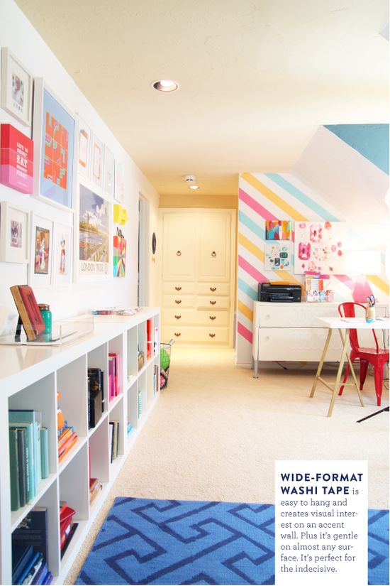 I adore this space designed by Pencil Shavings Studio in collaboration with Nod. I think it could be great inspiration for your space. Bright, white and tons of fun color. Great for the kids, great for an office.