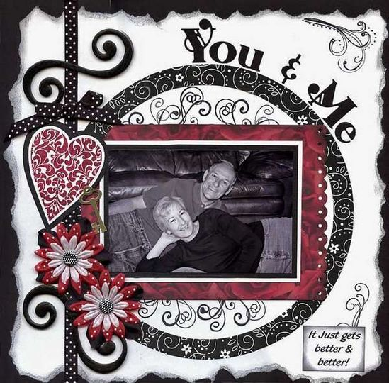 """You & Me"" scrapbook page layout"