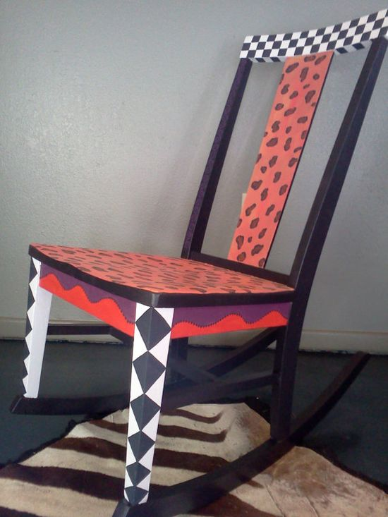 Hand painted Furniture, Rocking Chair, Child Size, Animal Print, Cheetah Print, Black and White, Unique, Colorful, Statement Piece