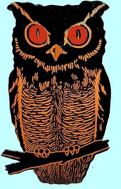 vintage halloween #owls