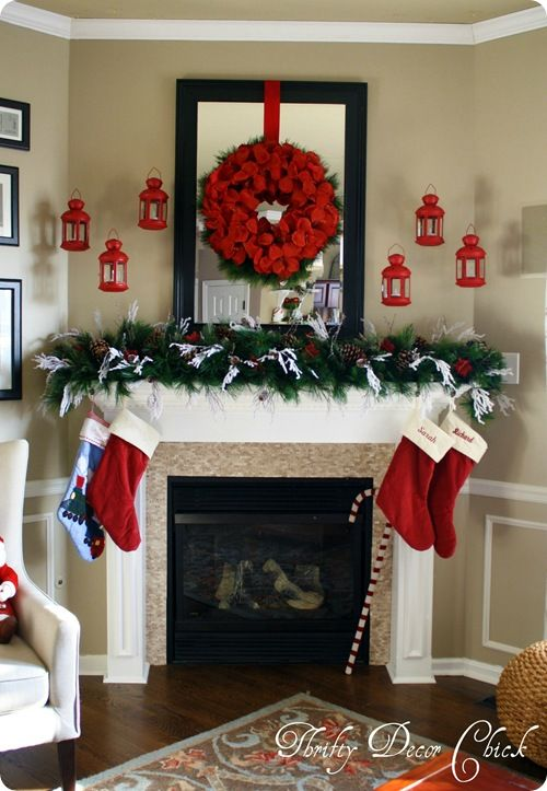 Christmas mantel in RED!