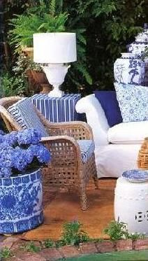 Blue and white garden patio!