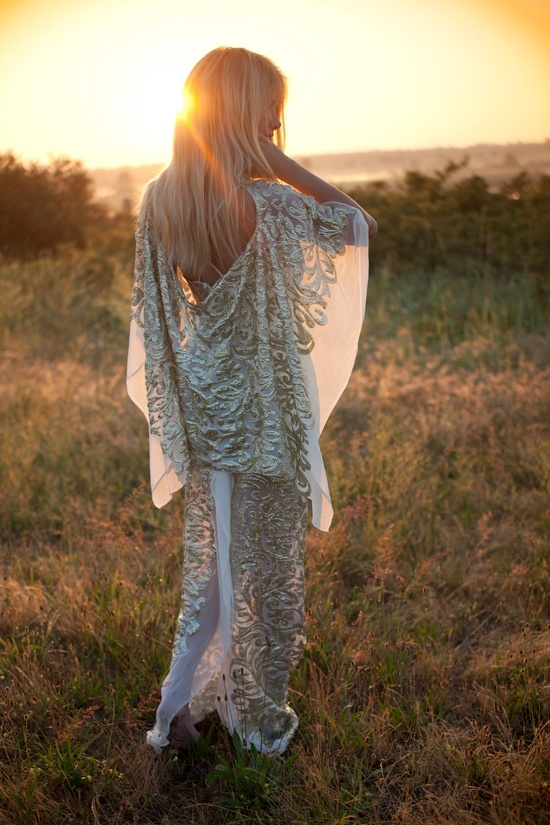 Gold goddess gown with gold embroidery cape back. boho - #boho - ?k?