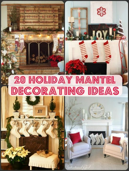 Great ideas for decorating mantels. Can't wait for winter holidays!
