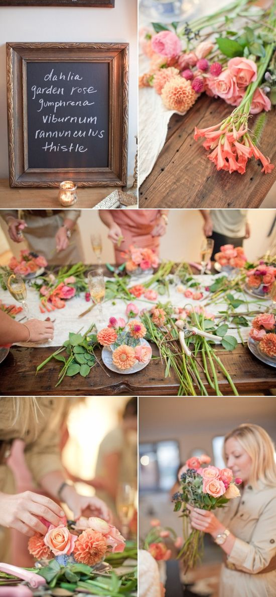 Flower arranging party   Photography by mossandisaac.com, concept by www.gabriellanewy..., design by www.rpscissors.com/