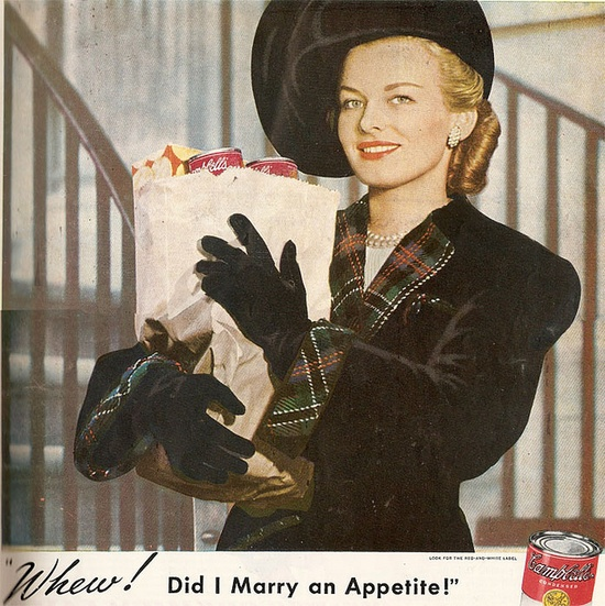 A definite contender for the most elegantly glamorous Campbell's Soup ad ever. #soup #ad #food #vintage #woman #Campbells #beautiful