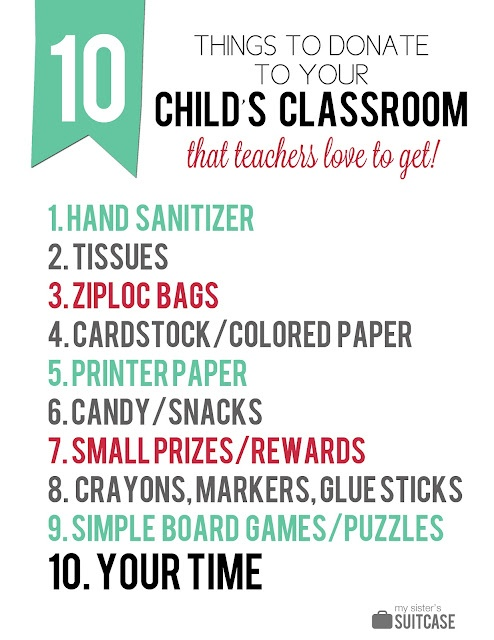 Give your child's teacher some supplies for the classroom this year - here are 10 easy ideas! #teacher #school #gifts