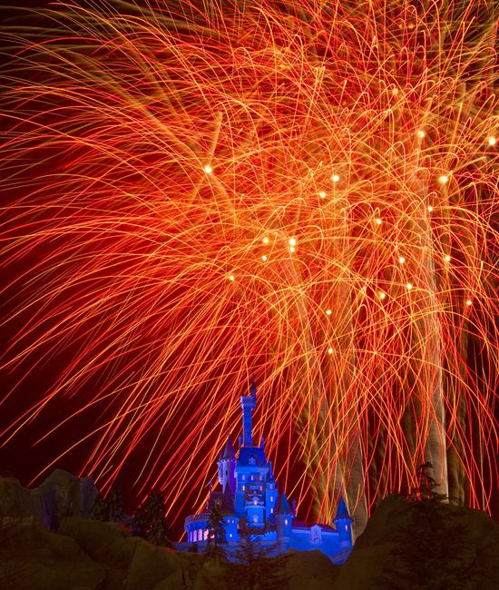 Fireworks over Beast's Castle in the New Fantasyland.