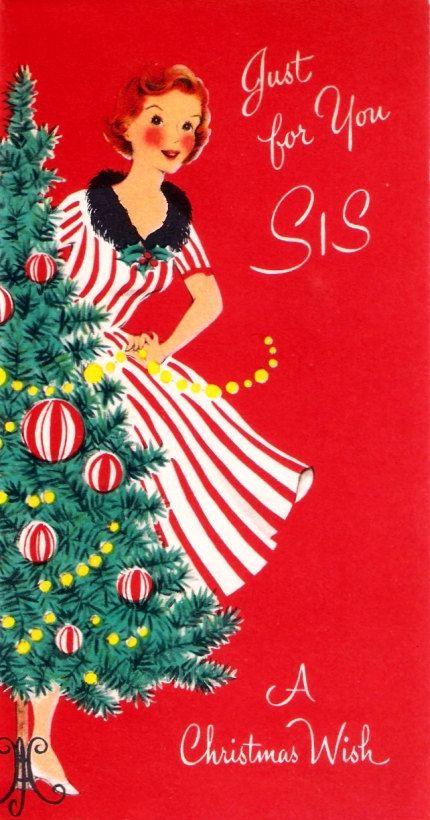Vintage Christmas Card Pretty Lady Decorating a Tree