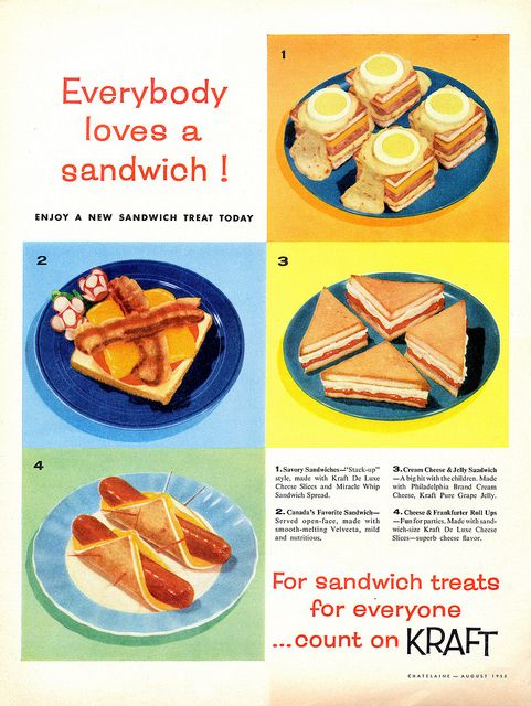 Everybody Loves a Sandwich! #vintage #cheese #food #ads #sandwiches