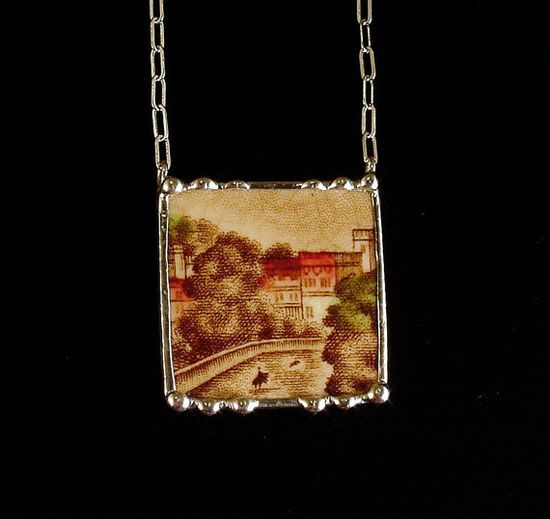 Broken china jewelry necklace by Dishfunctional Designs. Made from a broken plate. brown english transferware britain castles