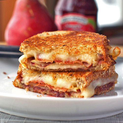 Bacon, Pear, and Raspberry Grilled Cheese by pinchofyum