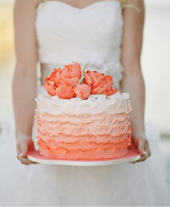 Peach Ombre Ruffled Wedding Cake