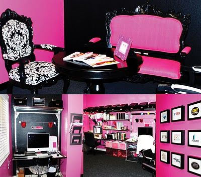 A cool pink and black contemporary office design! #office