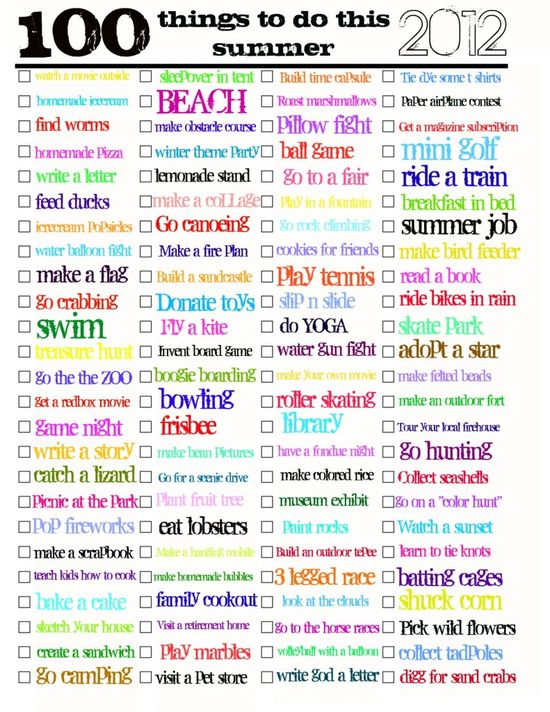100 things to do this summer..free printable