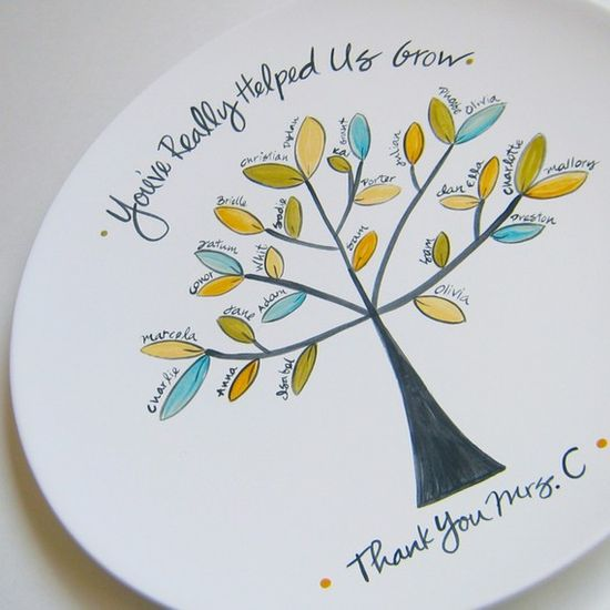What a sweet teacher gift--kids' fingerprints as leaves! I love it on a plate!