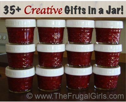 35 Creative Gifts in a Jar Recipes! via TheFrugalGirls.com #jar #recipes